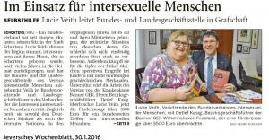 Im Einsatz für intersexuelle Menschen, Jeversches Wochenblatt vom 30.01.2016